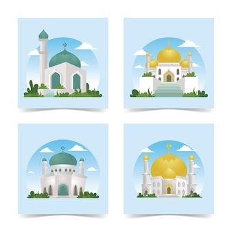 自然の風景イラストとモスク