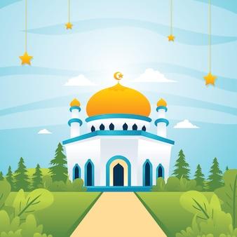 自然景観、イスラム景観フラットスタイルのモスク