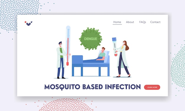 Mosquito based infection landing page template. patient character with dengue fever lying in clinic applying treatment. nurse with test near bed during appointment. cartoon people vector illustration