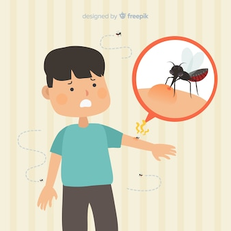 Mosquito biting a person with flat design