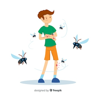 Mosquito biting a a person with flat design