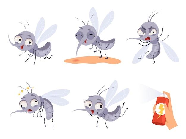 Комар мультфильм. предупреждение летающих насекомых, опасные маленькие животные иллюстрации.