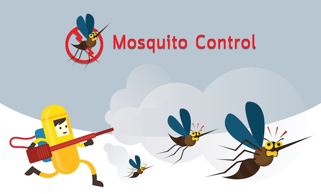 蚊の駆除、防護服を着た男が蚊に吹きかける