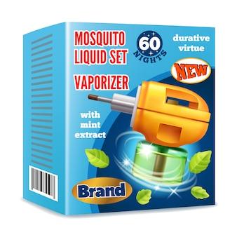 Modello di imballo liquido per zanzare per pubblicità.