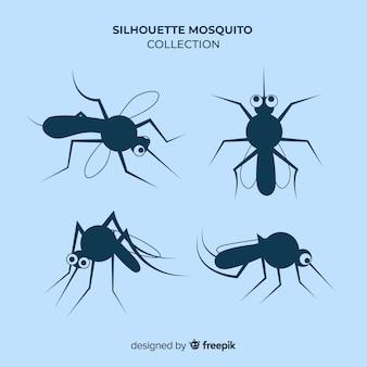 Collezione silhouette zanzara in stile piatto
