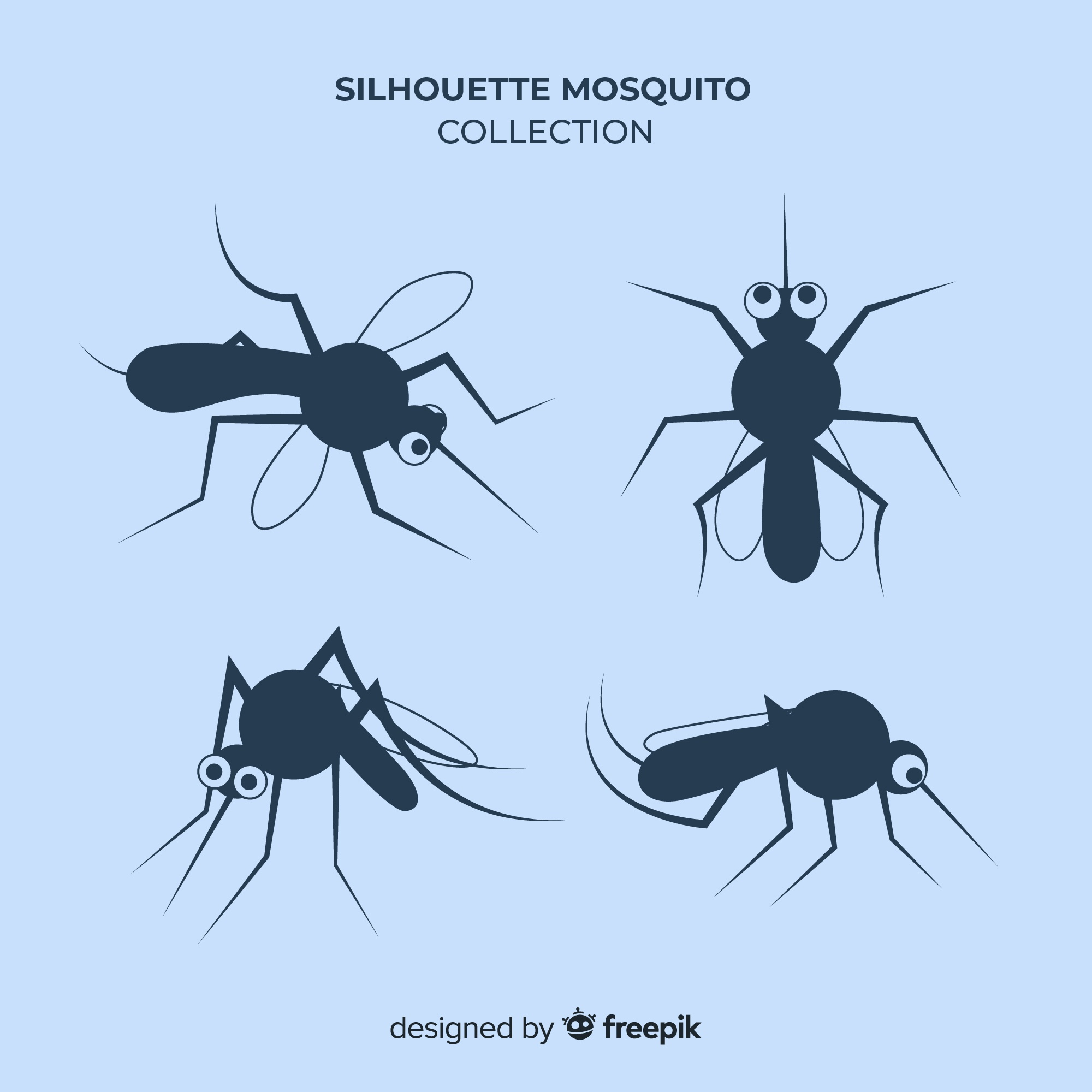 Mosquito silhouette collection in flat style