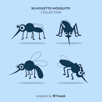 Mosquito silhouette set in flat style