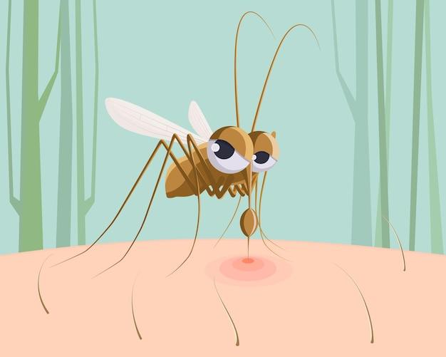 Mosquito sucking blood cartoon   illustration.