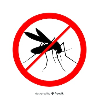 Mosquito warning sign with flat design