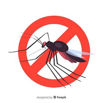 Предупреждающий знак москита с плоской конструкцией