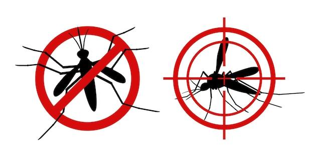 蚊の警告サイン。情報提供の赤は蚊の標的を禁止し、昆虫を防除し、流行を防ぎ、ブナを止めるように合図します。ベクトル黒のシルエットセット