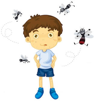 Mosquitos biting little boy character