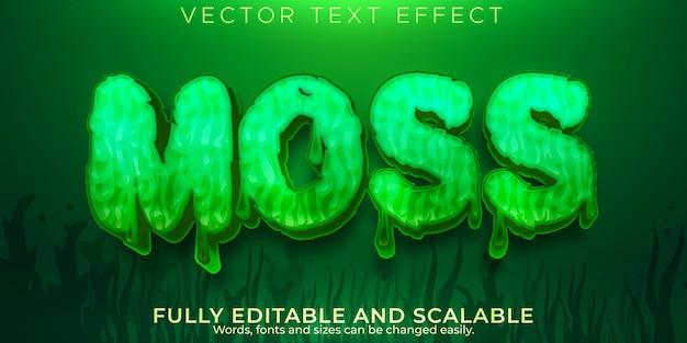 Эффект зеленого цвета мха, редактируемый стиль текста болота и озера