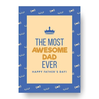The most awesome dad ever phrase on blue and peach yellow background for happy father's day.