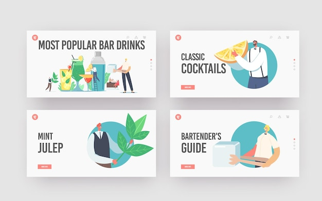最も人気のあるバードリンクランディングページテンプレートセット。小さなバーテンダーのキャラクターが夏に飲み物を調理します。ジュースの水にストロー、フルーツ、角氷が入った巨大なガラスカップ。漫画のベクトル図