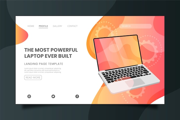 The most powerful laptop landing page template