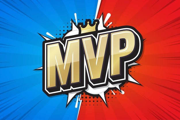 Most valuable player, mvp poster comic speech bubble.
