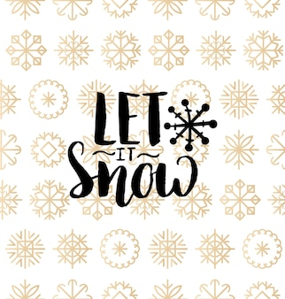 The most wonderful time of the year lettering design on snowflakes background. christmas or new year seamless pattern. happy holidays typography for greeting card template or poster concept.
