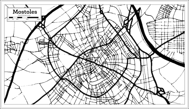 레트로 스타일에서 mostoles 스페인 도시 지도입니다. 개요 지도. 벡터 일러스트 레이 션.