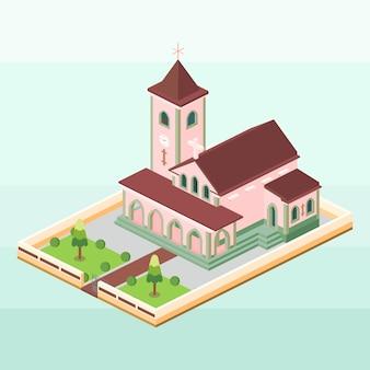 Motael church of east timor in isometric