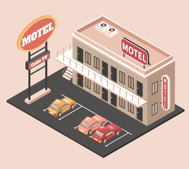 Motel color concept with parking billboard and cars isometric