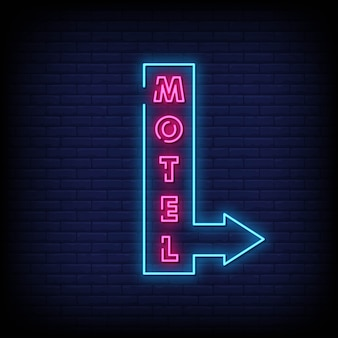 Motel neon signs style text vector
