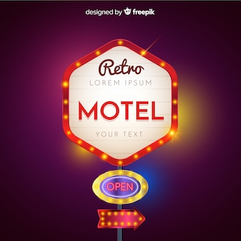 Motel retro light billboard design