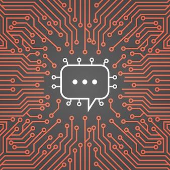 Чат пузырь над компьютерная микросхема фон moterboard социальные медиа сети концепция системы данных баннер