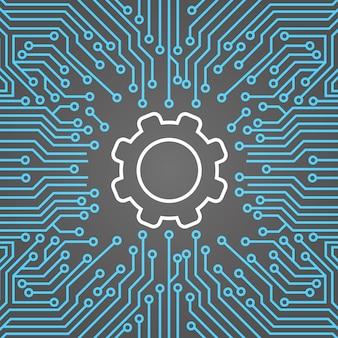 Зубчатое колесо над компьютерной микросхемой moterboard фон сетевой центр обработки данных концепция системы баннер
