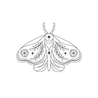 흰색 바탕에 라인 아트 스타일의 나방.