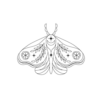 Moth in line art style on white background.