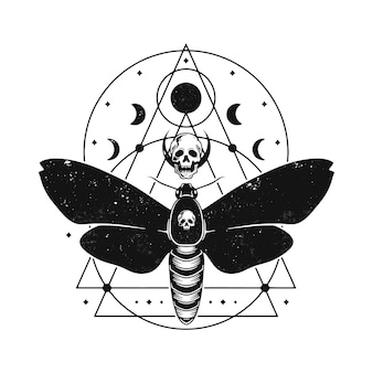 Moth lunar phases tattoo design