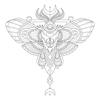Moth mandala tattoo illustration in lineal style