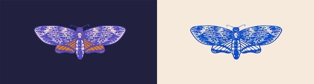 蛾または蝶のヴィンテージレトロなナイトフライまたはほくろの手描きのラベルの刻まれたモノクロスケッチまたは
