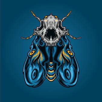 Moth with skull cat illustration
