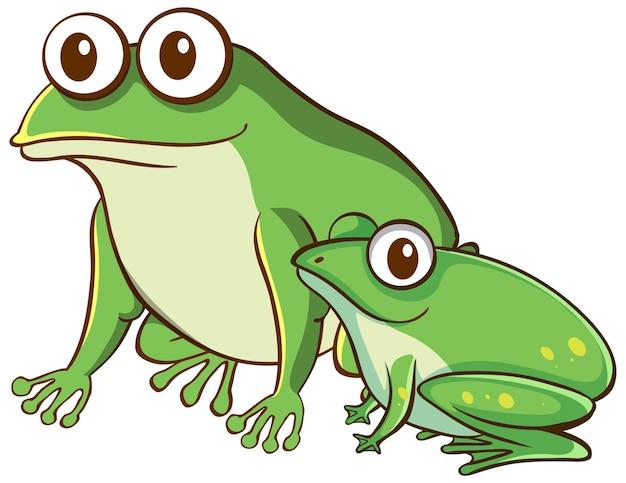 白い背景の上の母と赤ちゃんのカエルの漫画