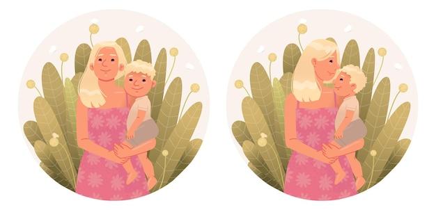 식물의 배경에 대해 그녀의 팔에 있는 엄마와 아기 모성과 육아의 개념