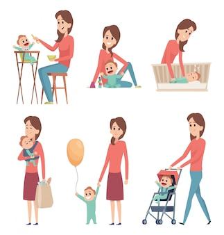 엄마와 아기. 신생아 아이 소녀와 소년 만화 캐릭터와 함께 노는 행복한 가족 부모 사랑