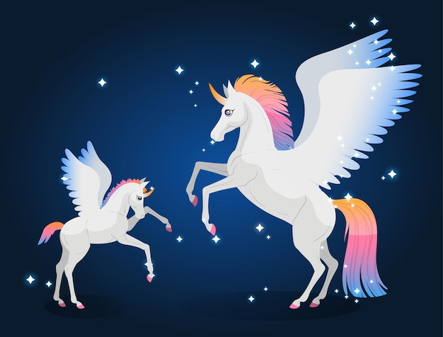 Мать и детеныш пегаса. волшебные пони-единороги. векторная иллюстрация.