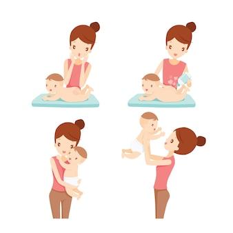 엄마와 아기 세트, 아기 발진 치료, 베이비 파우더 뿌리기