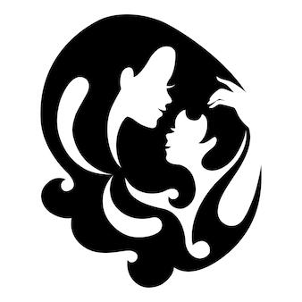母と赤ちゃんのシルエットのシンボル。ベクトルイラスト。幸せな母の日のカード