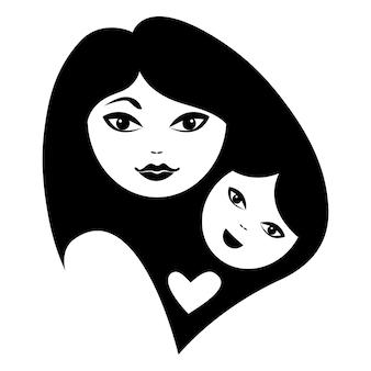 母と赤ちゃんのシルエット