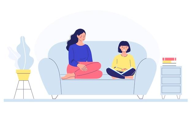 엄마와 아이는 아이들과 함께 공부하는 취미를 읽는 것을 돕는 소파에 앉아 있다