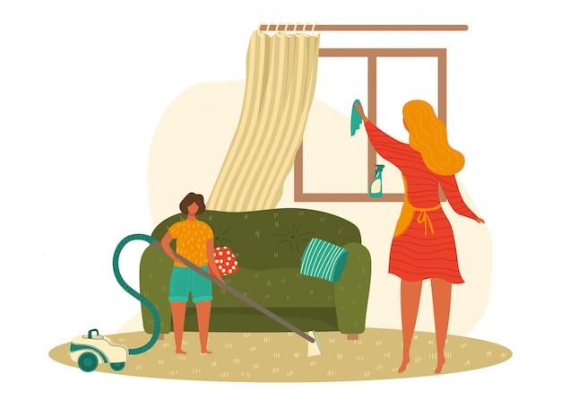 Мальчик матери и ребенка делая домашнюю работу, очищая дом совместно шарж изолированный на белой иллюстрации.