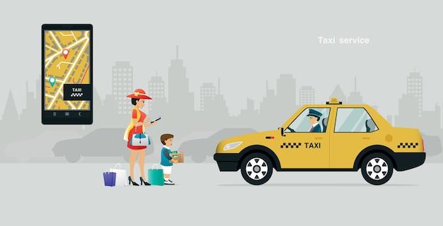 회색 배경의 전화 앱을 통해 택시를 부르는 엄마와 아이