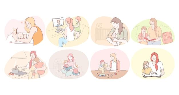 어머니와 아이, 모성, 어린이 개념 가정 활동. 젊은 여성 어머니 먹이