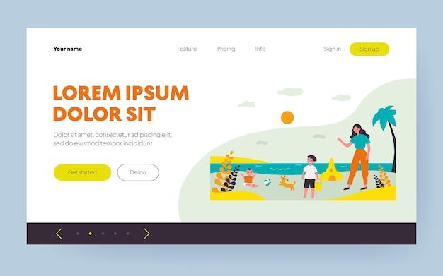Мать и дети, играющие на морском пляже. песок, игрушки, детские плоские векторные иллюстрации. концепция летней деятельности и образа жизни для баннера, дизайна веб-сайта или целевой веб-страницы