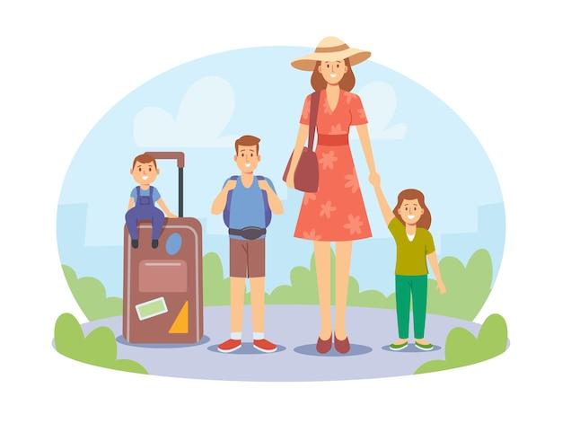 엄마와 아이들이 함께 여행합니다. 여름 휴가에 행복 한 가족입니다. 아이들과 함께 여행하는 엄마, 짐을 싣고 휴가철에 외국을 방문하는 캐릭터. 만화 사람들 벡터 일러스트 레이 션