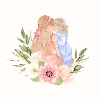 ピンクとブルーのドレスを着たアネモネの花の緑の葉を持つ母と娘 母の日