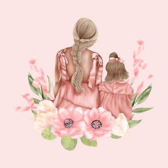 ピンクのドレスを着た花を持った母と娘が戻ってきました 母の日の休日
